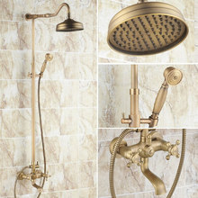 Vintage Retro Antique Brass Dual Cross Handles Bathroom 8 Inch Round Rain Shower Faucet Set Tub Mixer Tap Hand Shower mrs103 bathroom tub faucet dual cross handles with hand held sprayer antique brass