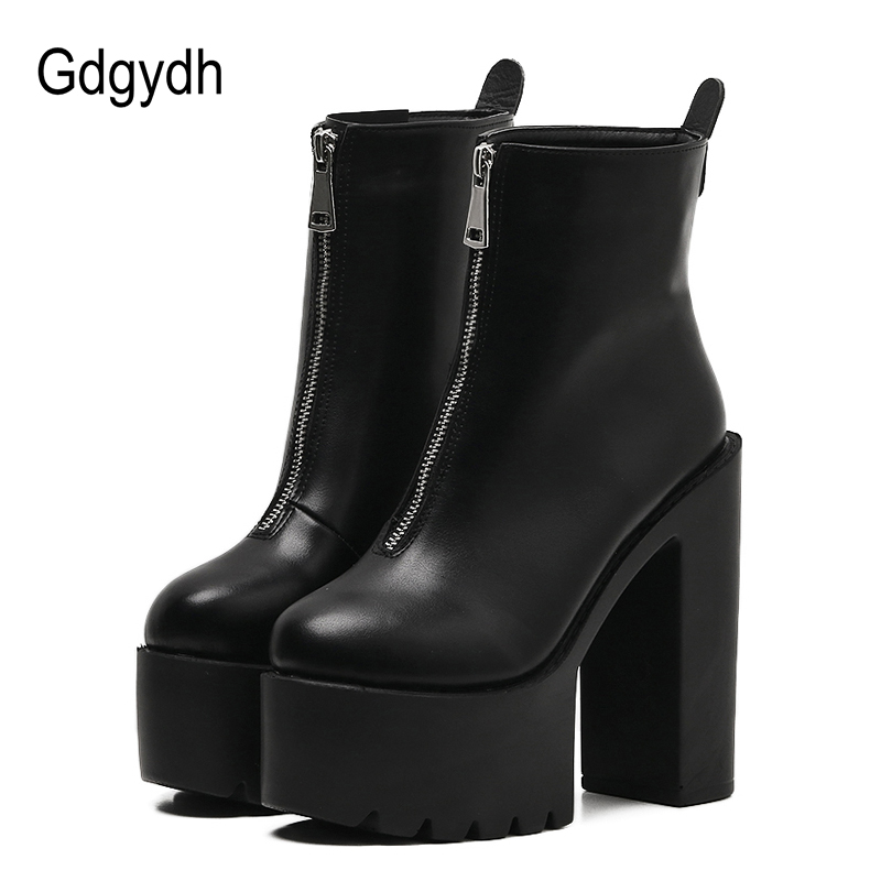 Gdgydh 2018 Fashion Autumn Women Ankle Boots Leather Black Female High Heels Shoes Ultra High Platform Heels Round Toe Lady Shoe gdgydh women platform heels ankle boots zipper high heels female booties shoes black round toe ladies shoes big size 2018 autumn