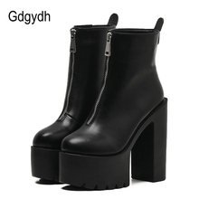 Gdgydh 2019 Fashion Autumn Women Ankle Boots Leather Black Female High Heels Shoes Ultra High Platform Heels Round Toe Lady Shoe women high heels black genuine leather ankle lace up shoes woman high heels round toe autumn womans shoes yl02 muyisexi