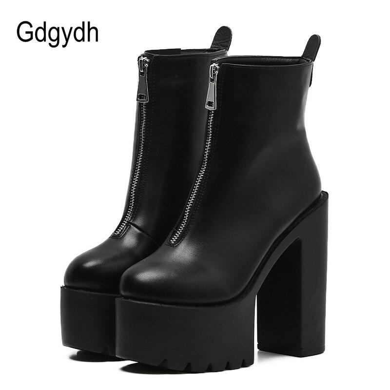 Gdgydh 2019 Mode Automne Femmes bottines En Cuir Noir Femelle talons hauts Chaussures Ultra Haute talons à plateforme Bout Rond chaussure de dame