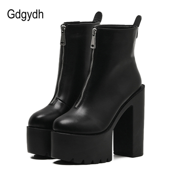 Gdgydh 2020 Fashion Autumn Women Ankle Boots Leather Black Female High Heels Shoes Ultra High Platform Heels Round Toe Lady Shoe women ankle leather boots split toe round heels splited toe lady shoes woman high heels female boots ninja tabi boots