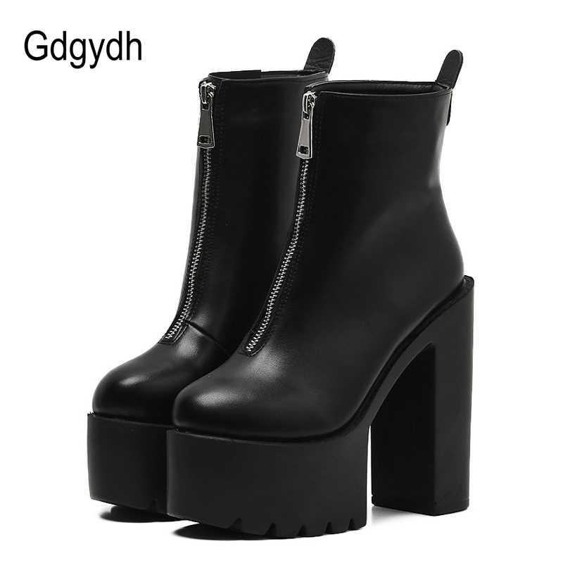 Gdgydh 2020 moda sonbahar kadın yarım çizmeler deri siyah kadın yüksek topuklu ayakkabı Ultra yüksek Platform topuklu yuvarlak ayak kadın ayakkabı