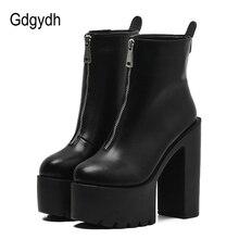 Gdgydh bottines en cuir noires pour femmes, chaussures à talons hauts à plateforme, bout rond, tendance automne, 2020