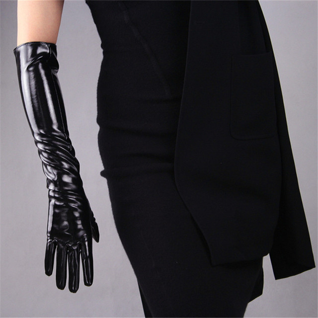 2020 New Patent Leather Extra Long Gloves 70cm Long Emulation Leather PU Bright Leather Bright Black Female Free Shipping WPU04 3