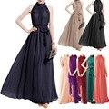 Estilo bohemio vestidos de fiesta femenina de las mujeres del verano de la gasa de largo maxi vestidos de cuello halter beach fashion dress vestidos tallas grandes