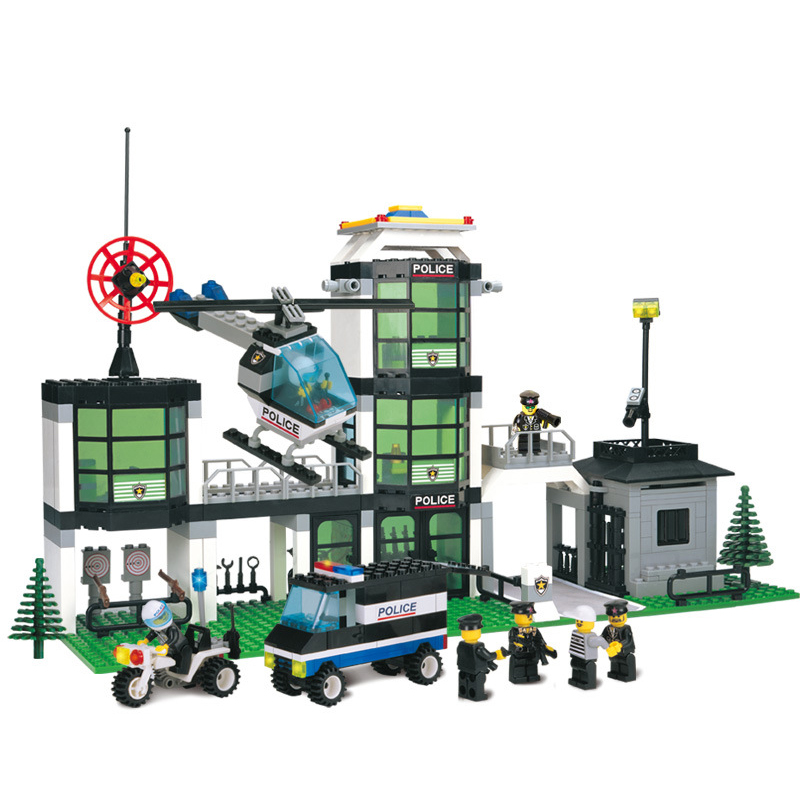 Police Station Building Blocks Bricks Educational Toys Compatible with Lepin city Birthday loz Gift toys for children Brinquedos compatible lepin city blocks block police dog unit 60045 building bricks bela 10419 policeman toys for children
