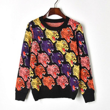 2018 New European And American Style Multicolor Tiger Head Knitted Sweater Straight Round Neck Female Thick Section