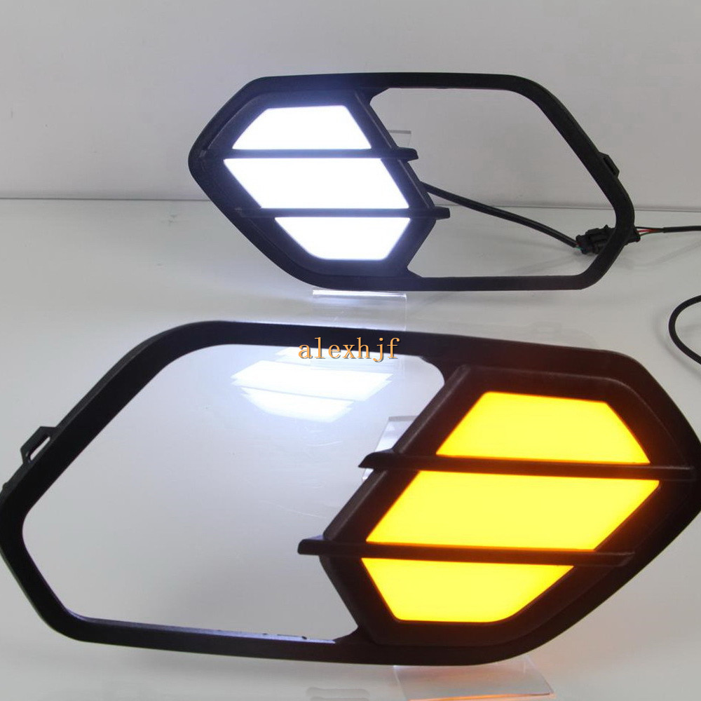 July King LED Daytime Running Lights DRL Case for Ford Kuga Escape 2016~ON, LED Front Bumper Fog Lamp With Yellow Turn Signals for opel astra h gtc 2005 15 h11 wiring harness sockets wire connector switch 2 fog lights drl front bumper 5d lens led lamp