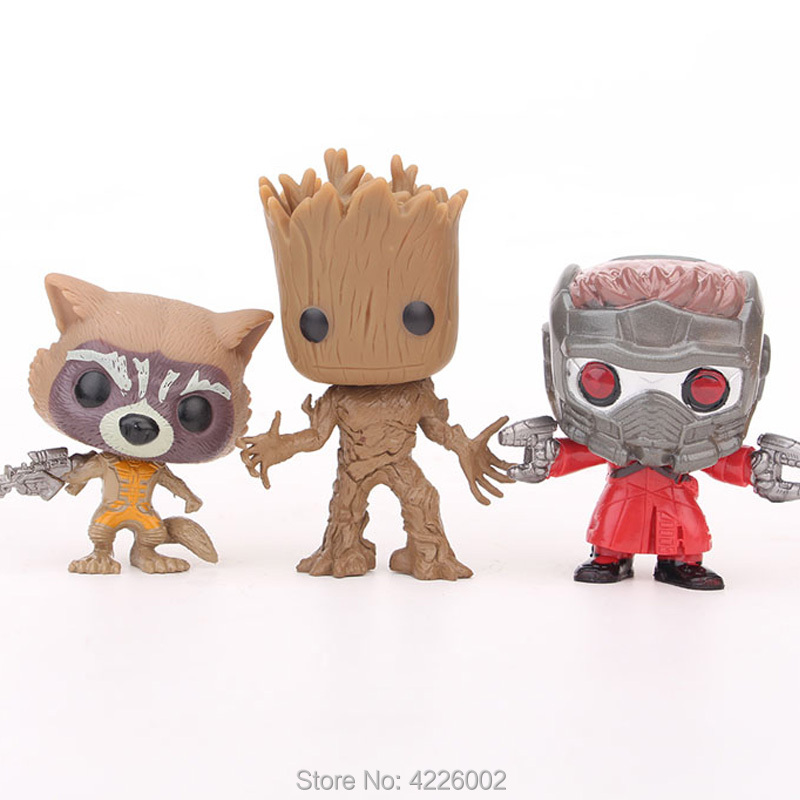 3pcs Guardians of the Galaxy 2 POP Star Lord Baby Tree Model Set Mini Action Figures Rocket Raccoon Figurines dolls Kids Toys