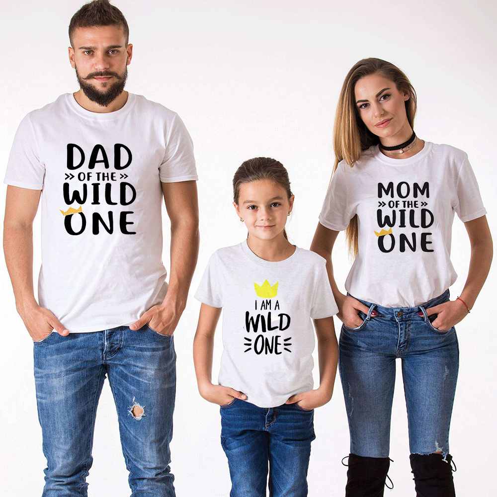 Family Look Short Sleeved T-shirt Father Mother Kids Clothes Dad of Wild One Mom of Wild One I'm A Wild One Family Matching Tee