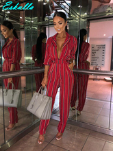 Eskulla Women Turn-down Collar Low-cut Jumpsuit Printed Stripe Long-sleeve Lace-up Pocket Jumpsuits Full Length clothing