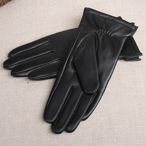 Image 3 - Gours Womens Genuine Leather Gloves Black Classic Sheepskin Touch Screen Gloves Winter Thick Warm Fashion Mittens New GSL076