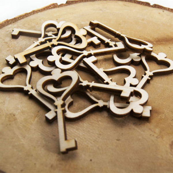 10pcs Wooden Key Shape Decoration Party Wedding Chrismas Decor Classic Handmade Wood Carved Lock Key Scrapbooking Favors ...