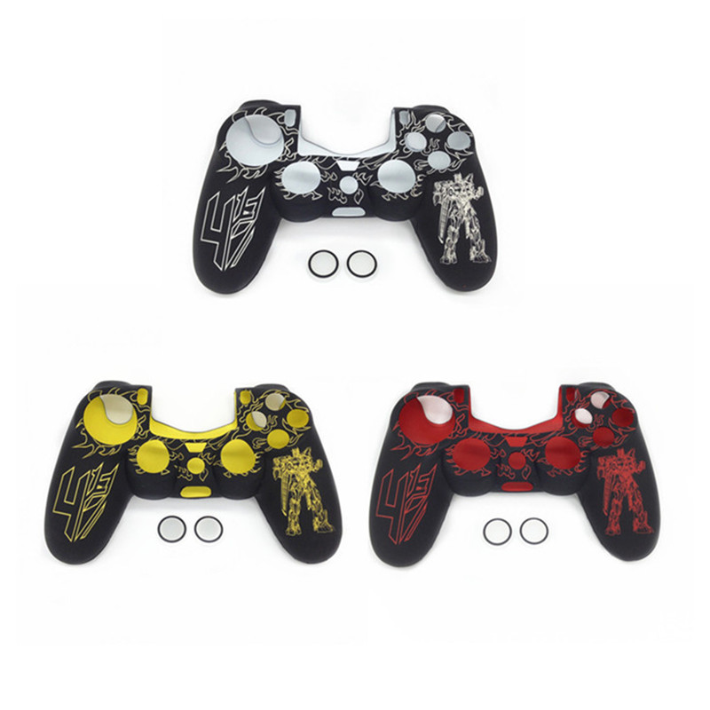 Transformers Silicone Skin Anti-slip Protective Case+2pcs Thumbstick Caps for Dualshock 4 PlayStation 4 PS4 Pro Slim Controller