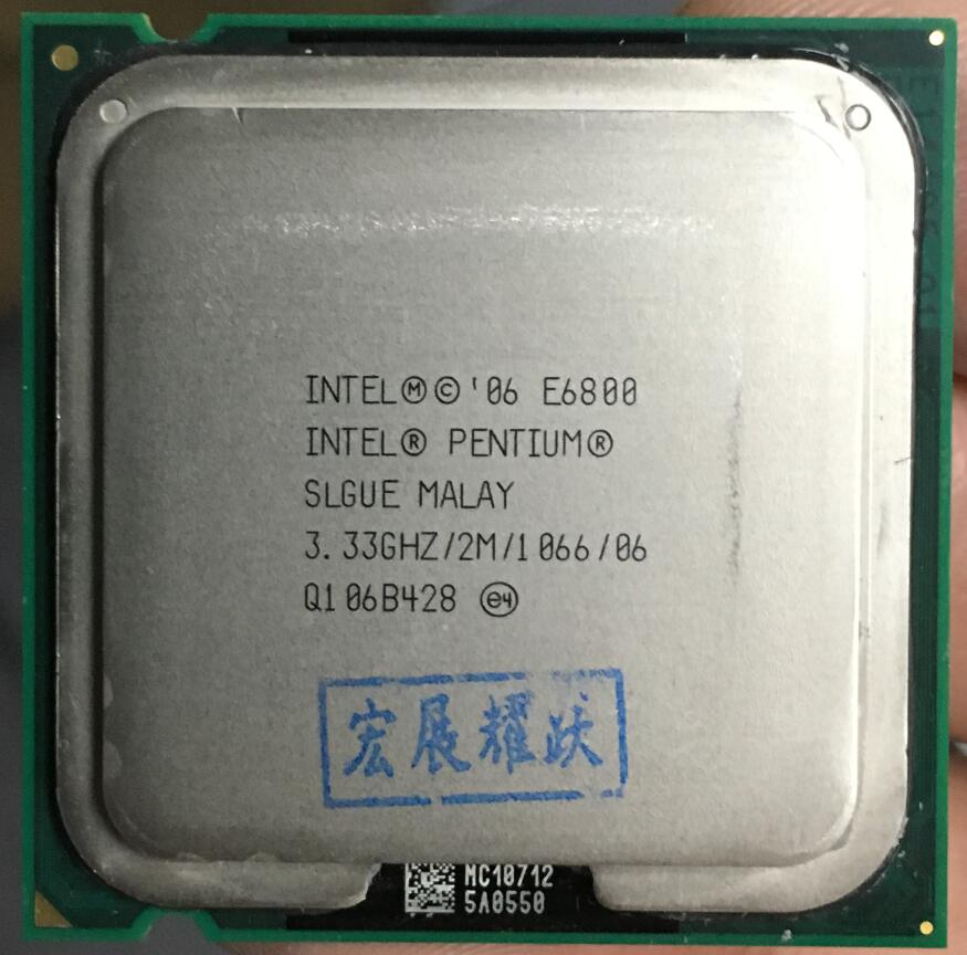 Livraison Gratuite Intel CPU Pentium E6800 CPU/3.33 ghz/LGA775/775pin/2 mb L2 Cache/ dual-CORE/65 w Processeur scrattered pièces
