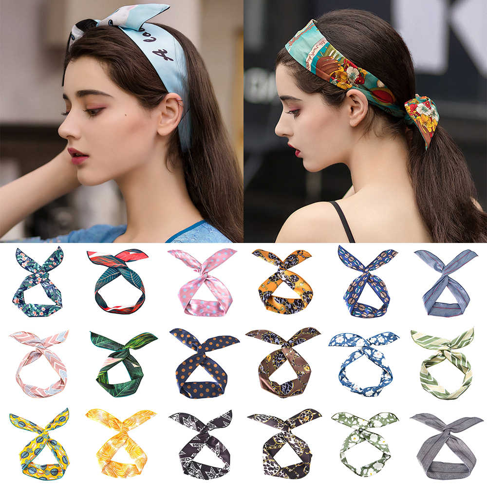 Vintage Fashion Bunny Ears Ribbon Cross Knotted Hairband Metal Wire Scarf Headband Women Makeup Headwarp Hair Accessories Summer