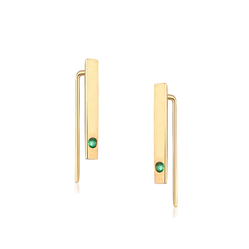 JXXGS Jewelry Fashion 14K Gold Natural Emerald Earrings Bar Stud Earrings For Women