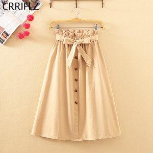 Image 4 - Crriflz saia midi feminina cintura alta, na altura do joelho com botões e pregas escolares verão outono elegante coreana