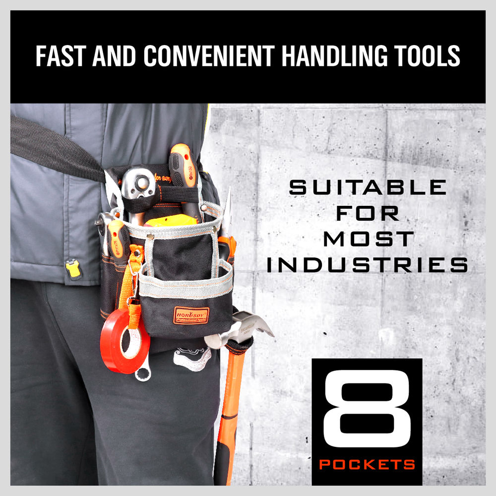 High Quality 8 Pockets Oxford Tool Pouch Electrician Tools Bag Electrician Tool Belt Waist Pocket Tool Belt Pouch work belt