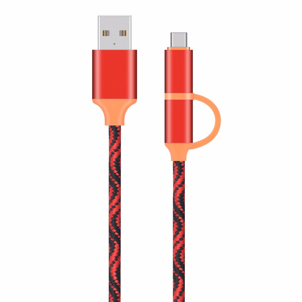 DORWEE 2 in 1 Micro USB Type C Cable For Samsung Galaxy S9 S8 Plus Note8 For Oneplus 6 For Xiaomi Mi 6 A1 Type-C Charging Cable