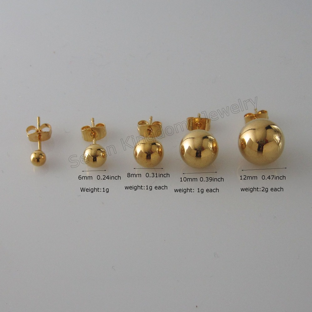 Foromance New Ball Shaped 6 Sizes Available Yellow Gold Gp Overlay Stud Plain Surface