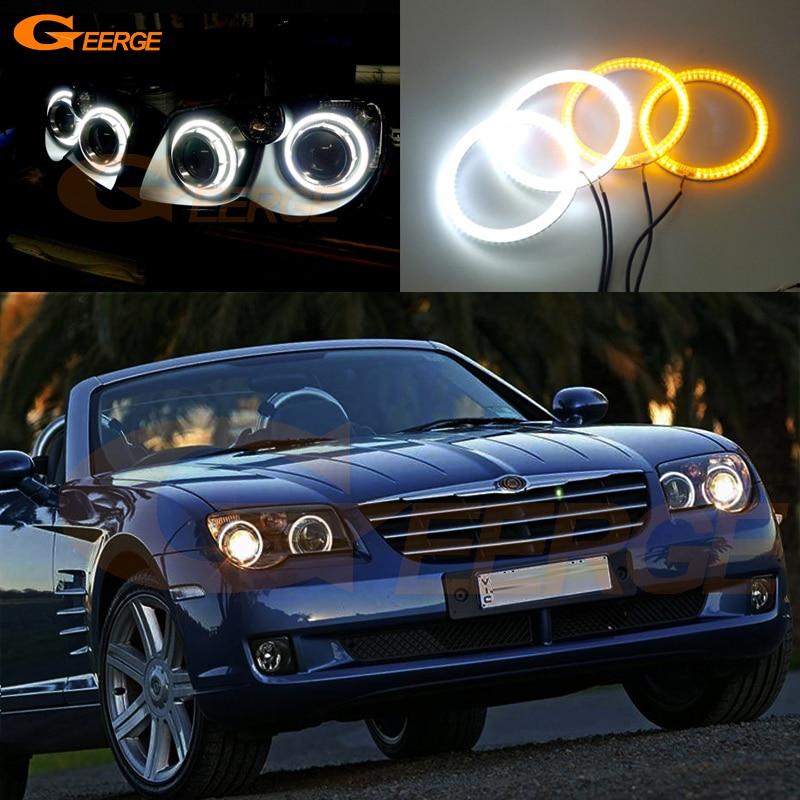 Для Крайслер Кроссфайр 2004 2005 2006 2007 2008 отличный Ультра яркий двойной Цвет Горки SMD из светодиодов глаза Ангела гало кольца комплект