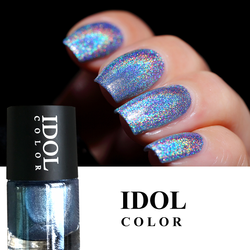 IDOL COLOR Laser Series Nail Glitter Polish 10ml Varnish Hologram Effect Polish Nail Smooth And Long Lasting in Nail Polish from Beauty Health