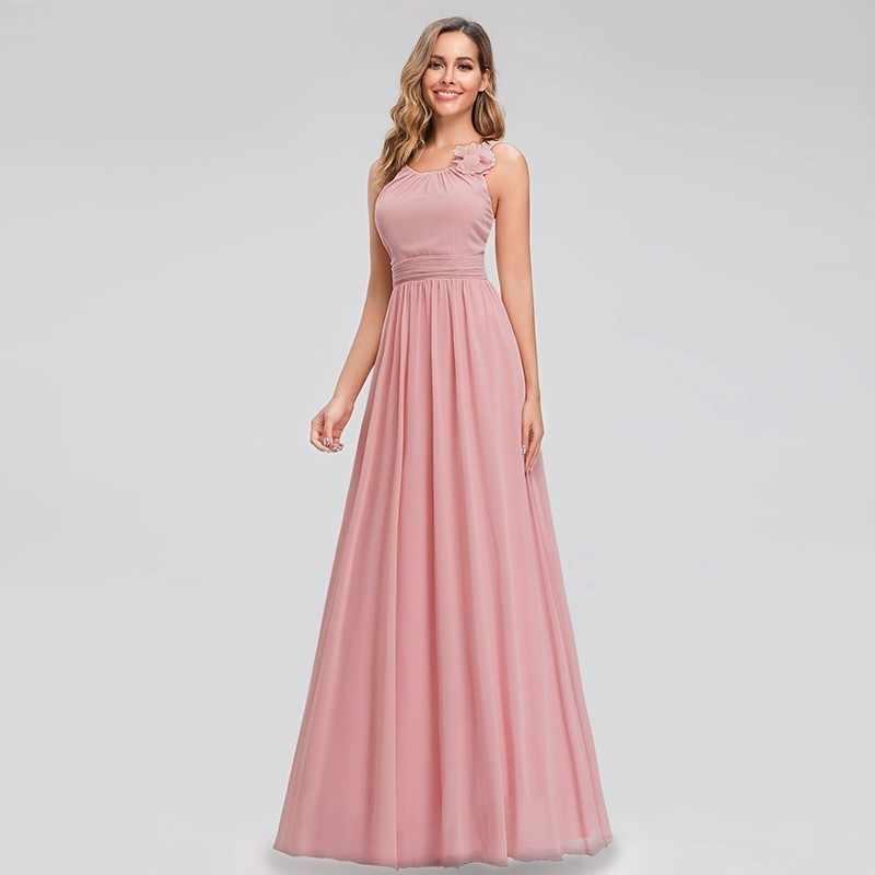 BATA De Soiree siempre bonito Rosa vestidos De noche Línea A cuello redondo flor gasa elegante Formal vestidos De fiesta Abiye Gece Elbisesi 2019