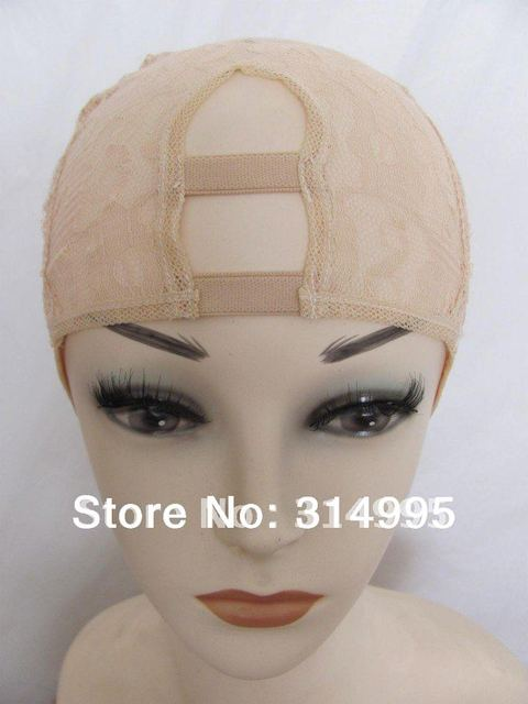 2014 china wholesale factory price beige middle part Instock adjustable u part wig making caps/u part wig cap