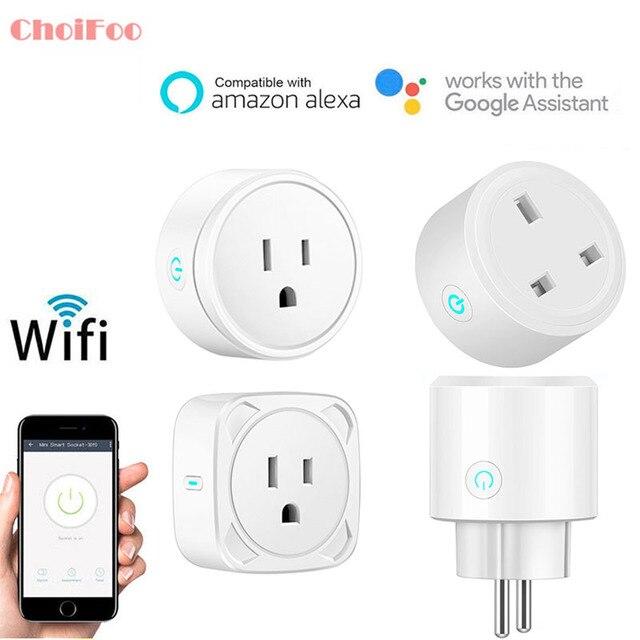 Interruptor de alimentación de enchufe inteligente 10A de Control remoto de toma Wifi de automatización del hogar que funciona con Amazon Alexa y Google US/UK /UE