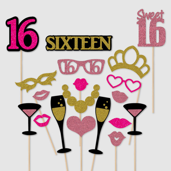 Sweet 16 Sixteenth Birthday Glitter Photo Booth Props Kit Set