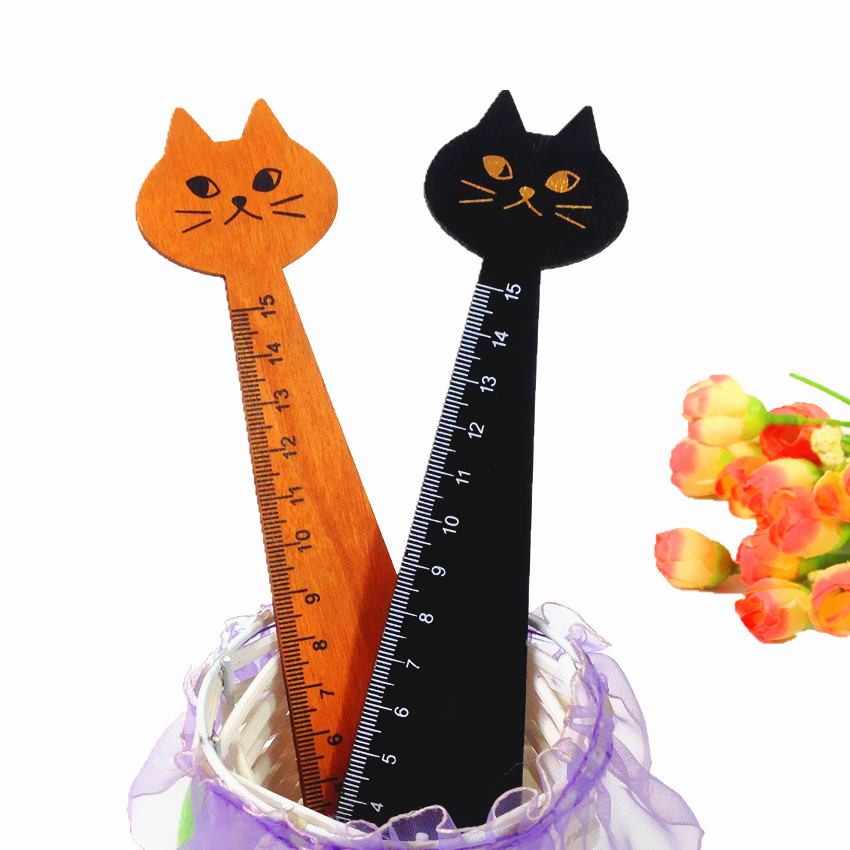 24pcs/lot NEW Vintage Cute Lucky Cat Wooden Ruler bookmark 15 CM wood straight ruler Students DIY Tools Wholesale