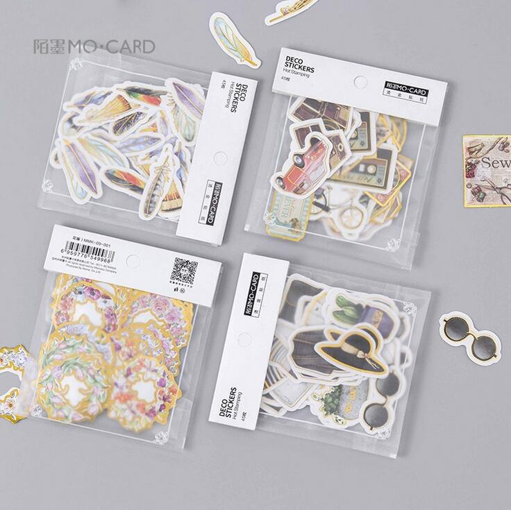 Gilding Fashion Diary Feather Stickers Diary Sticker Scrapbook Decoration PVC Stationery Stickers diary