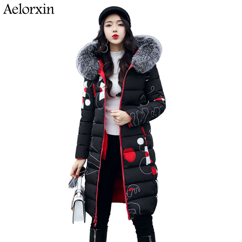 New 2017 Winter Women Coat Long Cotton Jacket Fur Collar Hooded 2 Sides Wear Outerwear Casual Parka Plus Size Manteau Femme zoe saldana 2017 winter women coat long cotton jacket fur collar hooded letter print outerwear femme casual parka
