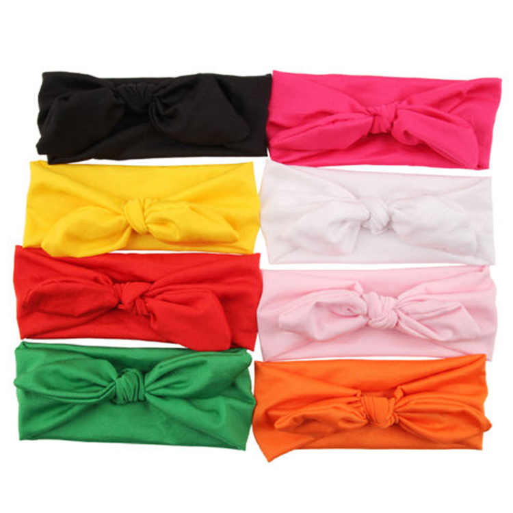 NewTrendy Lovely Rabbit Ears Bowknot Shaped Elastic Cloth Baby Girls Hairbands Children Hair Accessories 8 colors