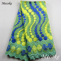 Best Quality African Lace Fabric Yellow Swiss Voile Lace High Quality Emboridery French Mesh 2017 Nigeria
