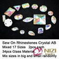 Strass 17 Shapes Mixed 34pcs Flatback Crystal AB Color Glass Strass Sew On Rhinestones Garment High Shine Crystal Strass