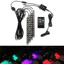 4 Шт. Автомобилей RGB LED Неоновый Интерьер Свет Лампы Газа Беспроводной Пульт Дистанционного Управления Декоративные Света Шнура Сид На Рождество Автомобиль