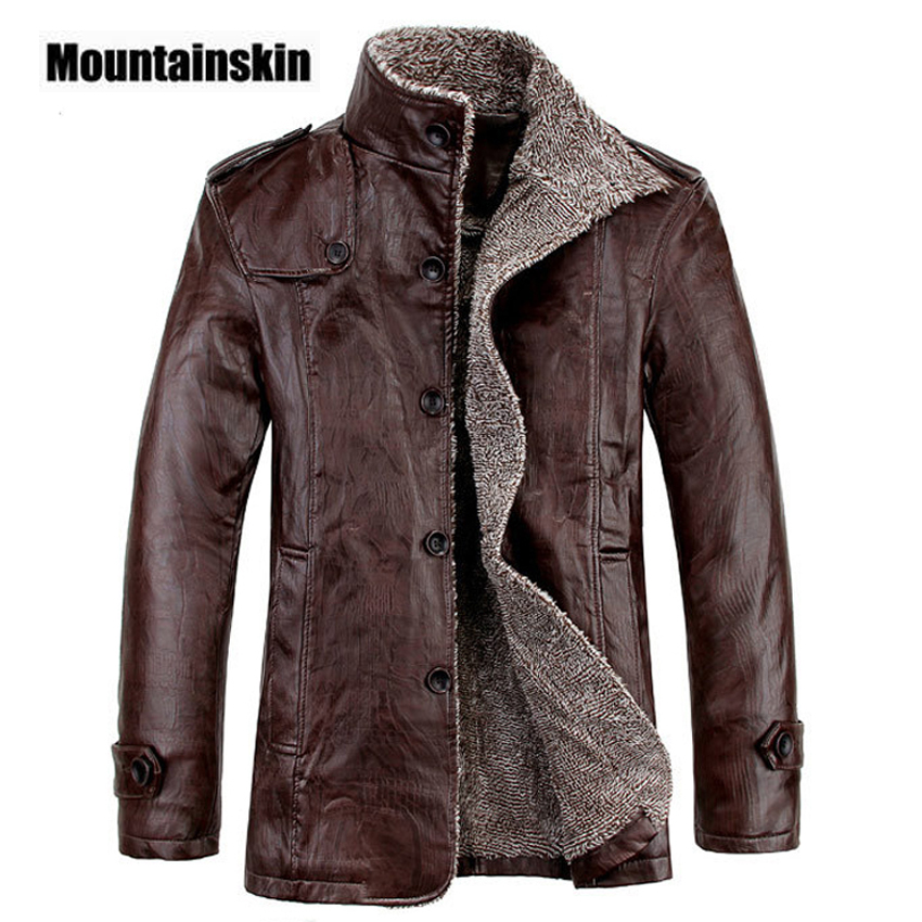 Mountainskin 4XL Winter PU Leather Casual Jackets Men Thermal Coats Male Faux Leather Jackets 2017 Warm