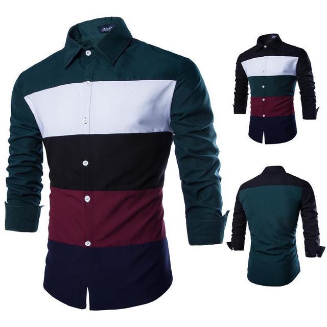 2017 Новые поступления моды для мужчин с длинным рукавом рубашки платья твердые 4 цвета Ml XL XXL 3XL AC13