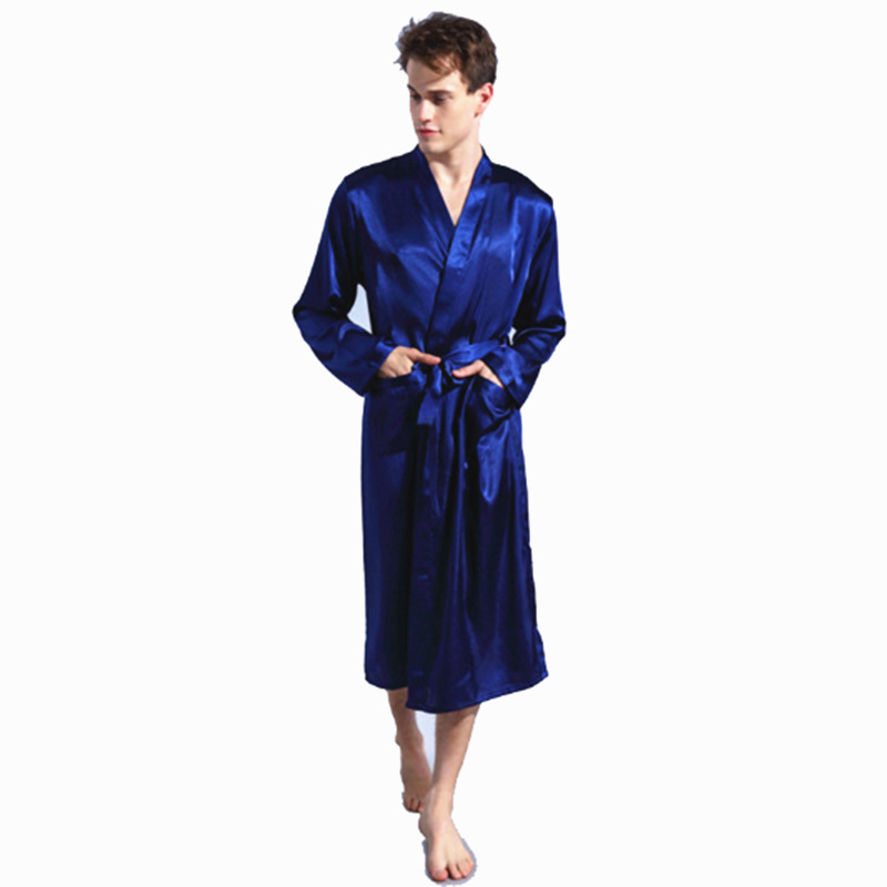 2017 Mens Satin Solid Robes Bathrobe Long Sleeve Nightgown Loose Plus Size Sleepwear Dressing Gown For Male