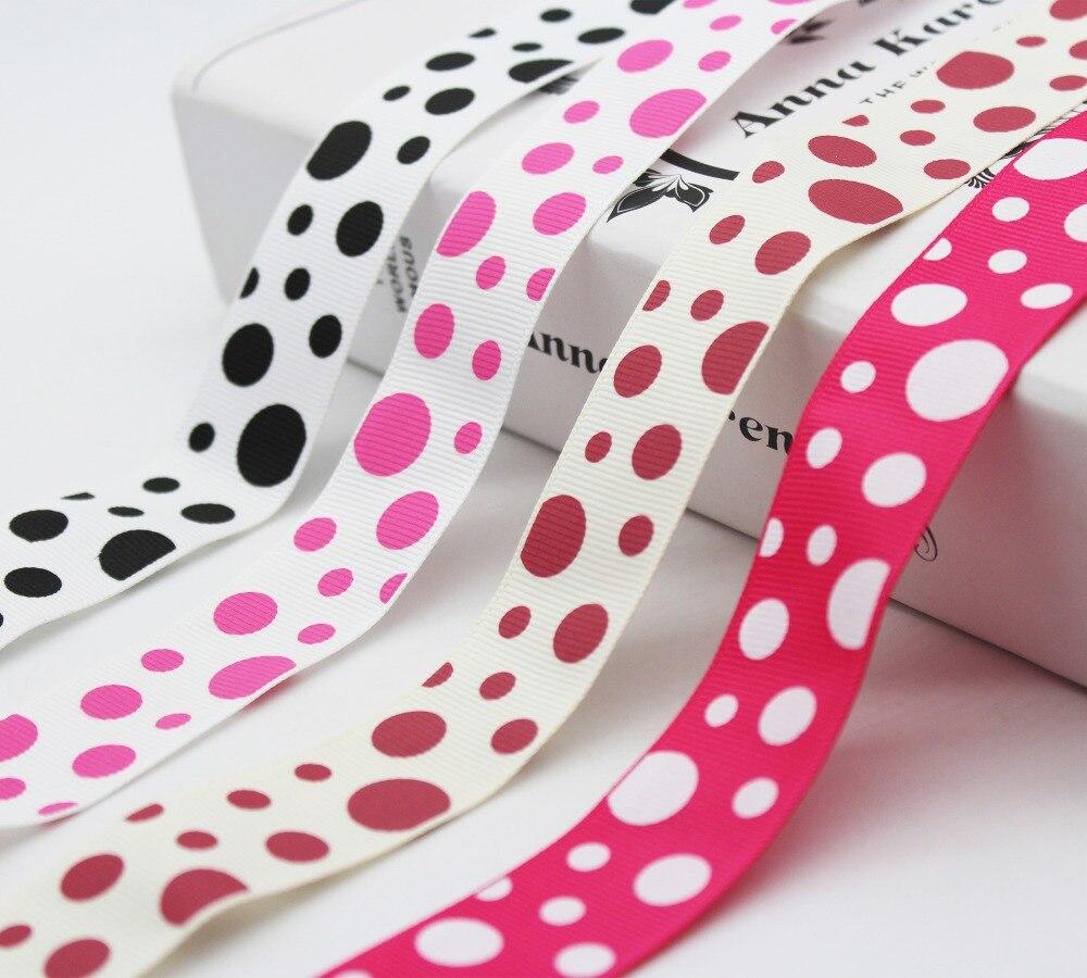 "5 Yds Pink White Dotted Polka Dot Grosgrain Ribbon 3//8/""W"