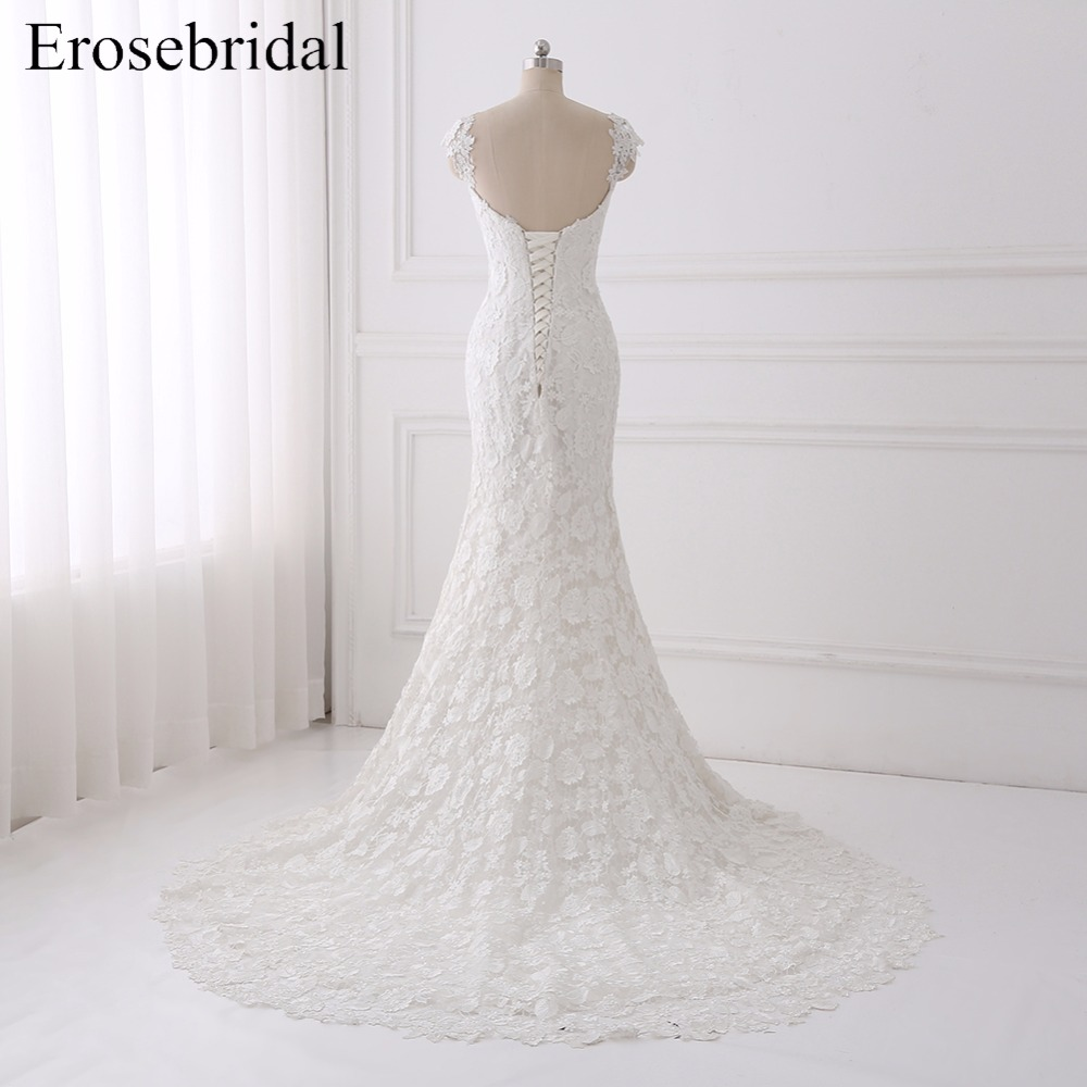 Mermaid Wedding Dress With Lace Sweetheart Bridal Gown Sweep Train Cap Sleeves Lace Up Back Wedding Gown vestido de noiva ES806 in Wedding Dresses from Weddings Events