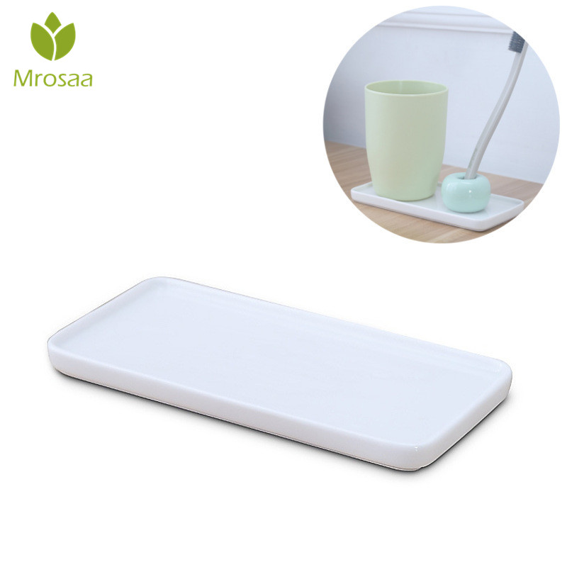 Mrosaa White Porcelain Trays Rectangle Bathroom Toothbrush Ceramic Base Holder Stand Sanitary Storage Pallet Bathroom Supplies image