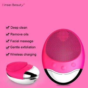 Image 2 - Gesichts Reinigung Pinsel Ultraschall Elektrische Silikon Gesicht Reinigung Pinsel Schönheit Maschine Drahtlose Ladegerät Tiefe Sauber Gesicht massage