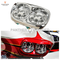 5 3 4 5 75 Chrome Motorcycle LED Dual Headlight Daymaker Lamp Case For Harley Road