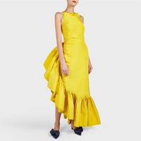 Haute Couture Fashion Ruffles Yellow Prom Gowns Hippie Style Chic Special Occasion Party Dress Pencil Design Vestido de festa