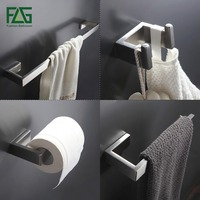 304 Stainless Steel Nickel Brushed Wall Mount Bath Hardware Sets Towel Bar Robe Hook Paper Holder