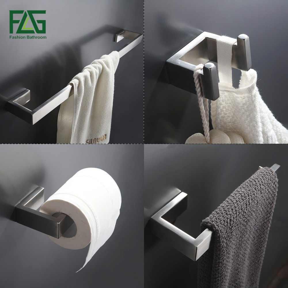 FLG 304 Edelstahl Gebürstet Nickel Wand Halterung Bad Hardware Sets Handtuch Bar Robe haken Papier Halter Badezimmer Zubehör Set