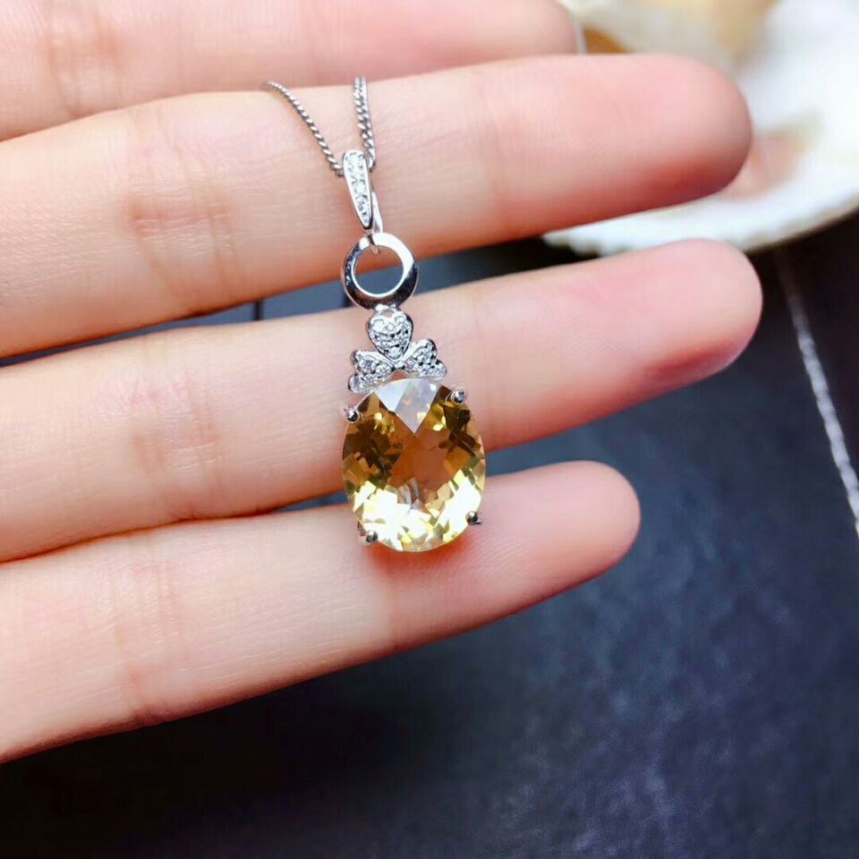 Flower Pendant Necklace Fine-Jewelry Citrine Yellow-Stone 925 Natural Pure-Silver Real